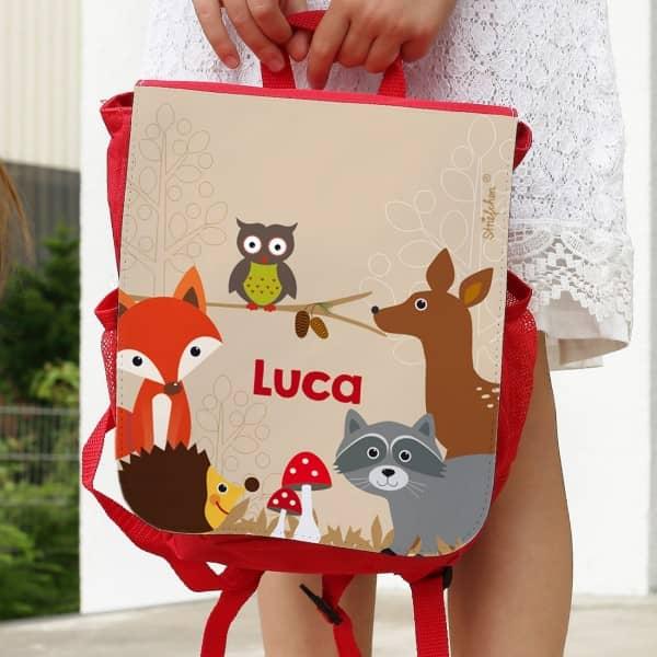 Kinder Rucksack mit Tieren des Waldes und Name