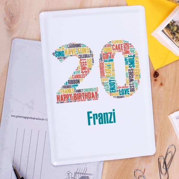 Blechpostkarte zum 20. Geburtstag