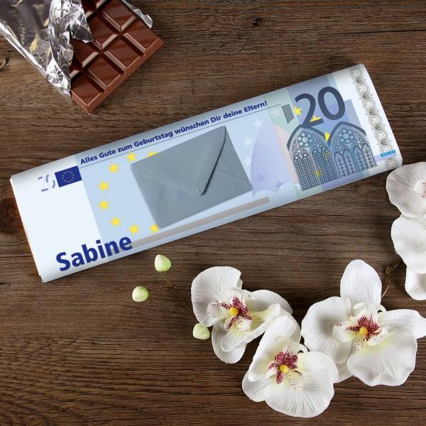 Schokolade in 20Euro Optik mit Umschlag für Geld
