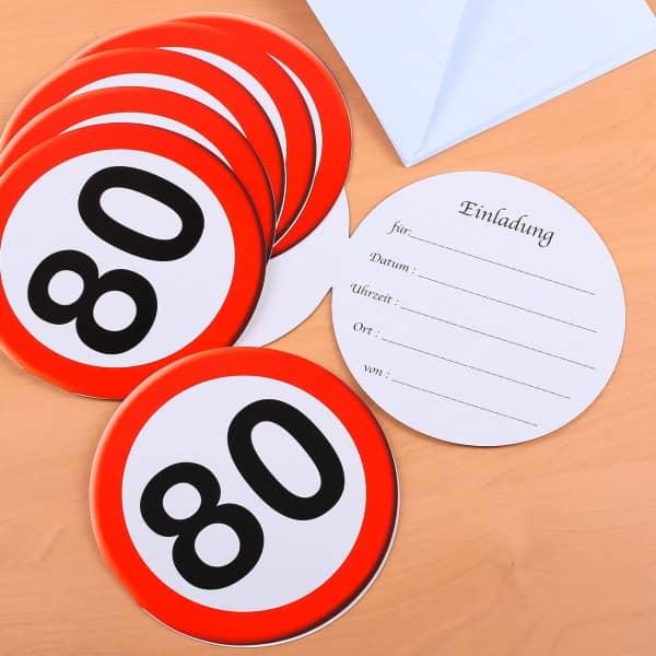 Verkehrszeichen Einladungen zum 80.