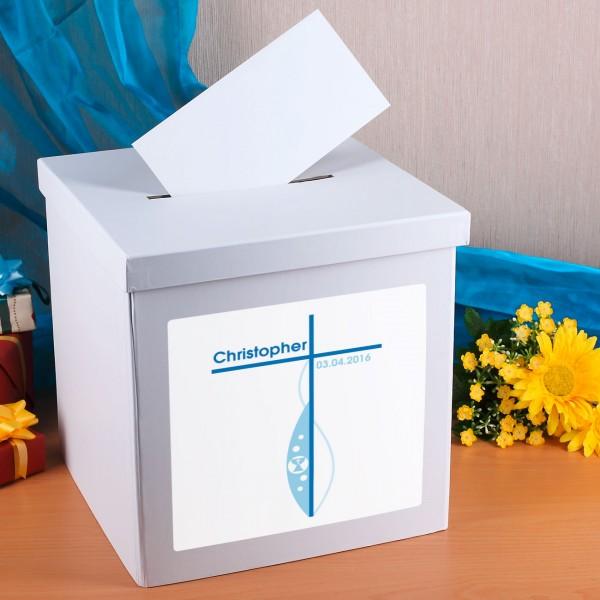 Praktische Box aus Karton zur Aufbewahrung von Glückwunschkarten zur Konfirmation