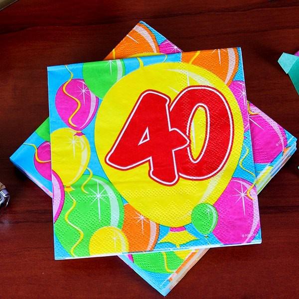 Geburtstagsservietten Ballon zum 40.