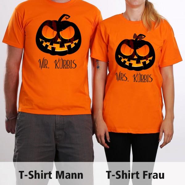 Partnerkostüm zu Halloween zwei bedruckte Shirts mit Wunschtext