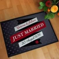 personalisierte Hochzeitsfußmatte -Just Married-