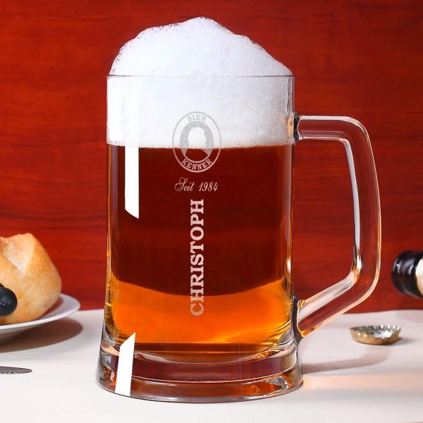 Bierseidel mit persönlicher Gravur Bierkenner
