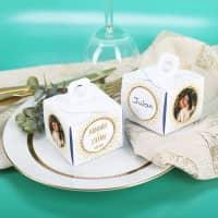 6 Gastgeschenk Schachteln mit Fotoaufdruck und Namen zur Hochzeit