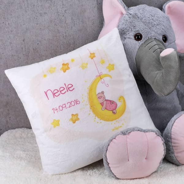 Flauschkissen zur Geburt für Mädchen mit süßem Teddy