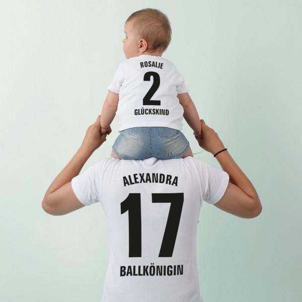 Partner-T-Shirt für Mutter und Tochter mit Namen Zahlen und Wunschtexten bedruckt