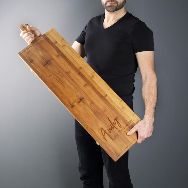 1 Meter Bambusbrett mit Name und zwei Wunschzeilen graviert