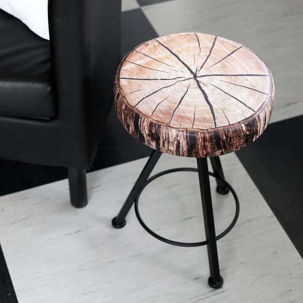 MetallHocker mit Sitzkissen in Holzoptik