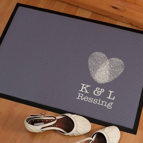 Fußmatte Herz Fingerabdruck mit Wunschtext