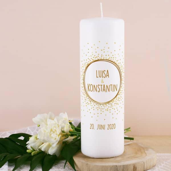 Kerze zur Hochzeit mit Punkten, Namen, Datum und Wunschtext