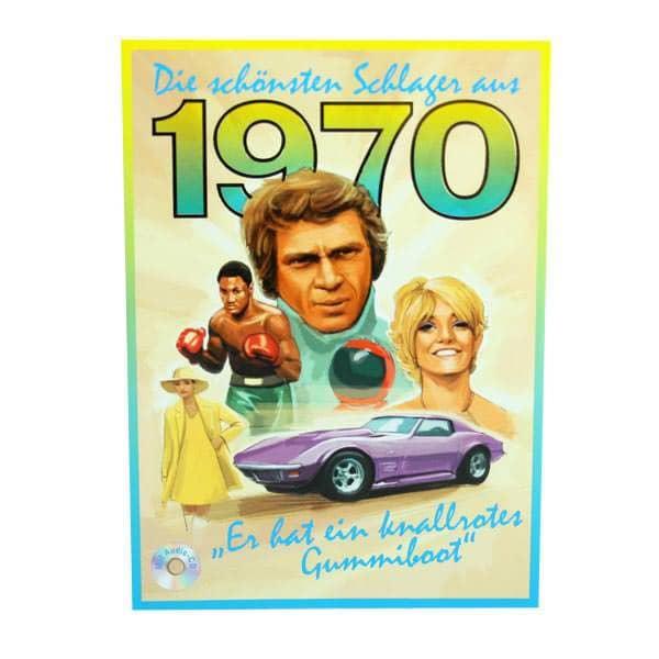 Geburtstagskarte mit Schlagern aus dem Jahr 1970