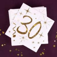 Weiße Servietten zum 30. Geburtstag in Gold-Metallic