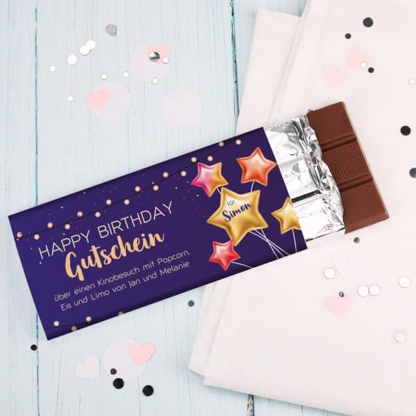 Happy Birthday Gutschein Schokolade mit Name und Wunschtext