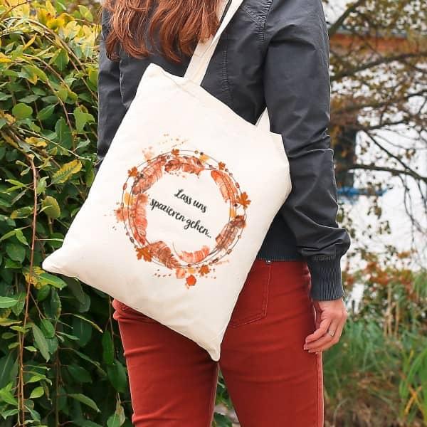 Individuellbekleidung - Herbstlicher Jutebeutel mit Wunschtext - Onlineshop Geschenke online.de