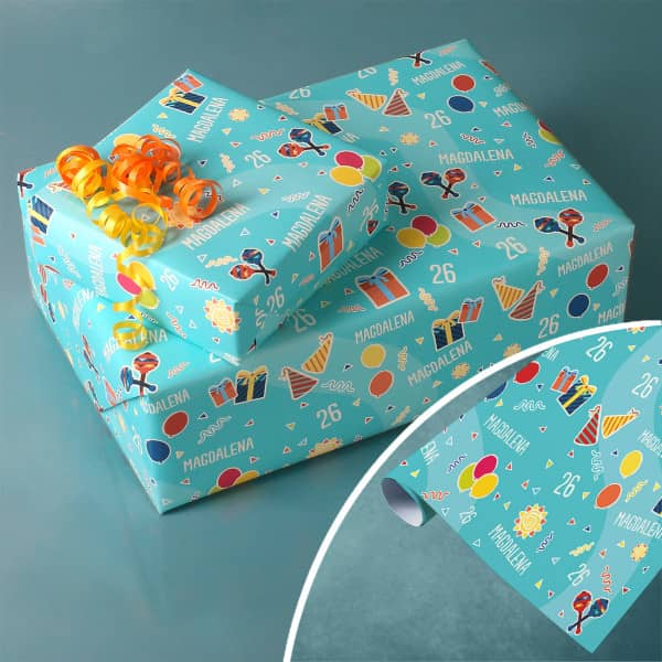 Geburtstags-Geschenkpapier mit Name und Alter