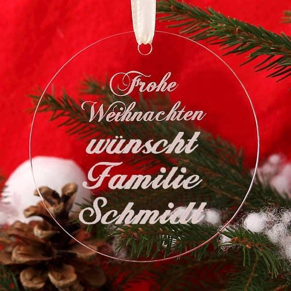 Christbaumanhänger Kugel aus Acryl Frohe Weihnachten