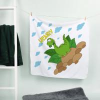 Kapuzenhandtuch mit kleinem Dino und Ihrem Wunschnamen bedruckt
