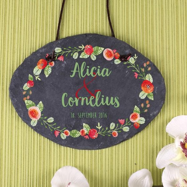Ovale Schieferplatte Zur Hochzeit Mit Blumen In Aquarell Optik