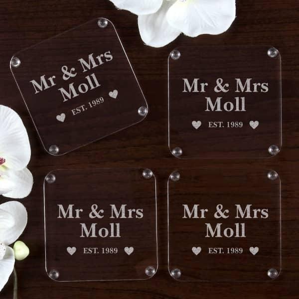 Untersetzer Set Mr & Mrs mit Namensgravur