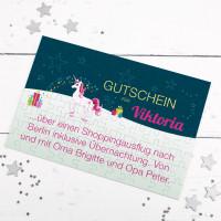 Gutschein-Puzzle mit Einhorn und Wunschtext
