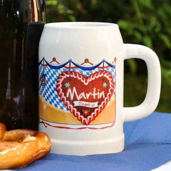 Keramik-Bierkrug 0,5 Liter zum Oktoberfest mit Wunschname