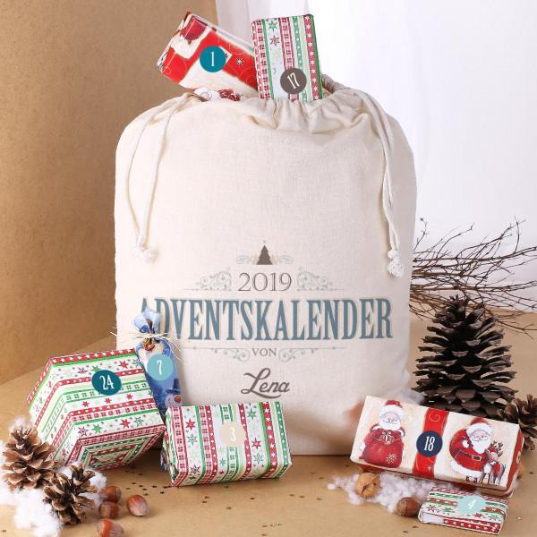 DIY Adventskalender Sack und Aufklebern