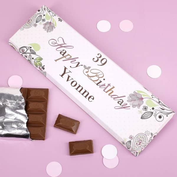 Individuellleckereien - Schön verzierte 300g Schokolade *Happy Birthday* mit Name - Onlineshop Geschenke online.de