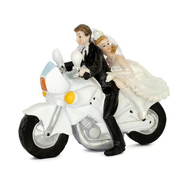 Brautpaar auf weißem Motorrad