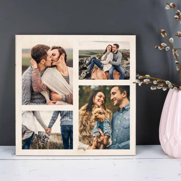 Holzbild mit 4 Fotos nach Wunsch bedruckt