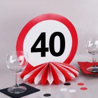Tischaufsteller zum 40. Geburtstag - Seidenpapierwaben