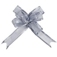 5 Mini Schleifenbänder aus Organza in Silber