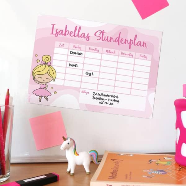 Magnetischer Stundenplan mit Ballerina und Ihrem Wunschnamen