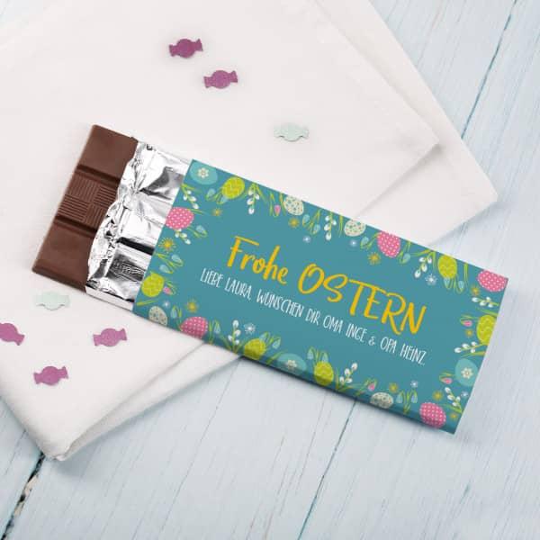 Frohe Ostern Schokolade mit Ihrem Gruß bedruckt, 100 g