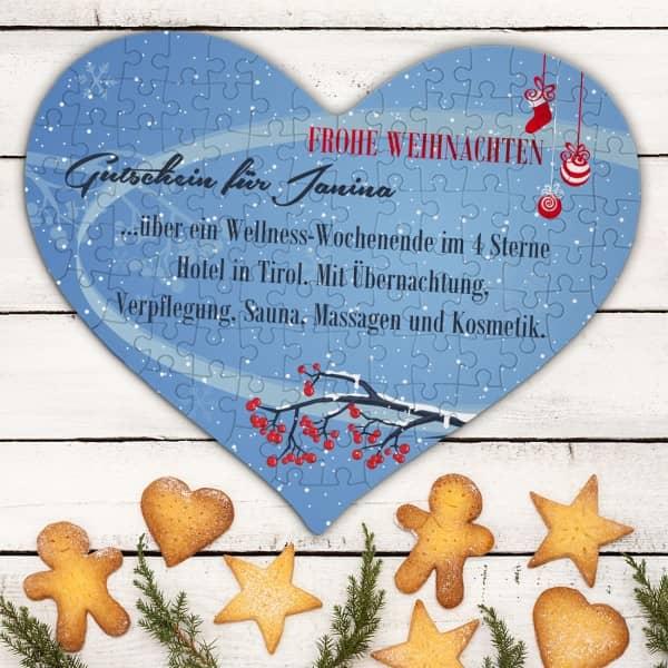 Großes Herzpuzzle mit Gutscheintext für Weihnachten