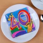 Bunte Servietten zum 40. Geburtstag