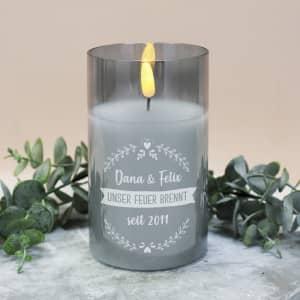 LED Kerze aus Echtwachs mit Gravur
