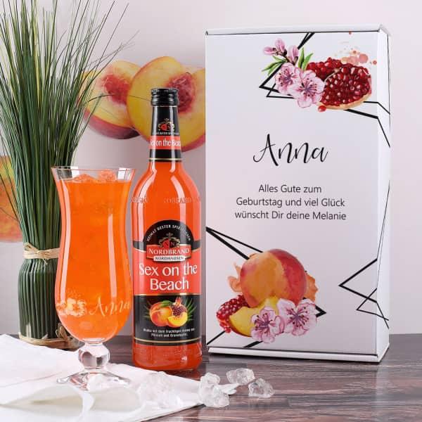 """""""Sex on the Beach"""" Cocktail-Set in toller Verpackung und mit graviertem Glas"""