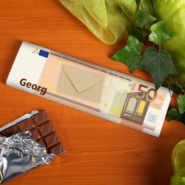 XL Schokolade in 50€ Optik mit Umschlag für Geld oder Gutscheine