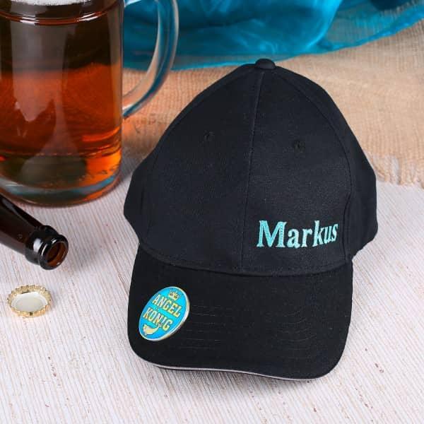 Ausgefallenspezielles - Basecap mit Flaschenöffner für den Angelkönig - Onlineshop Geschenke online.de