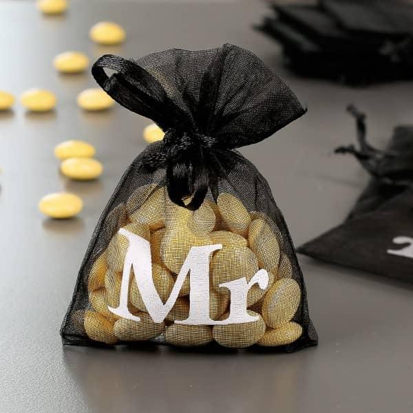 10 kleine Organza-Beutel mit Mr-Aufdruck Gastgeschenk