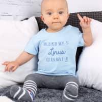 Blaues Babyshirt mit Name - Ich bin neu hier