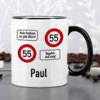 Persönliche Tasse mit Verkehrsschildern für jedes Alter