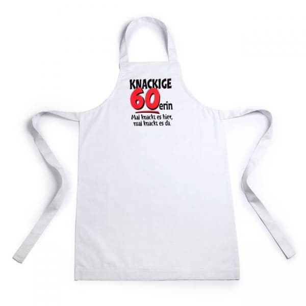 weiße Schürze für Frauen zum 60. Geburtstag