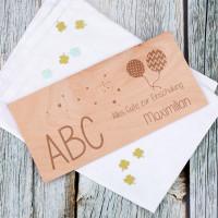 Holzkarte mit persönlicher Gravur zur Einschulung