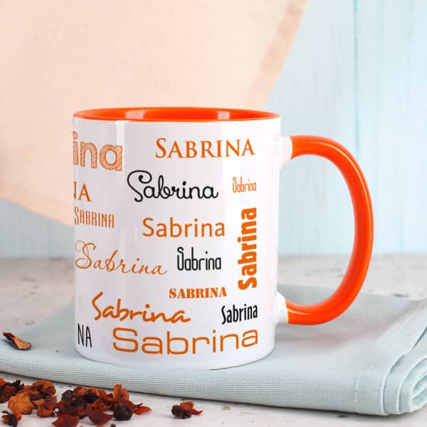 Tasse mit Namen in Orange