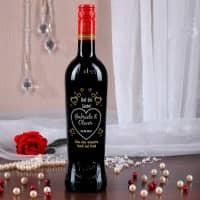 Personalisierte Weinflasche zur Hochzeit mit romantischer Gravur