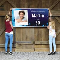 XXL-Geburtstagsbanner in blau mit Namen, Alter und Foto