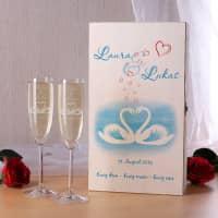 Set Hochzeitsbox mit Sektgläsern von Leonado mit Schwanenpaar